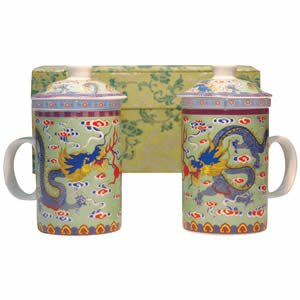 Tea Mugs - Tea for Two - Green/Green Dragon Cups