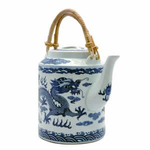 Tea Pot - Porcelain - Blue and White Dragon
