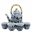 Porcelain Tea Set BW - 6 Sided
