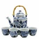 Porcelain Tea Set BW - 6 Sided