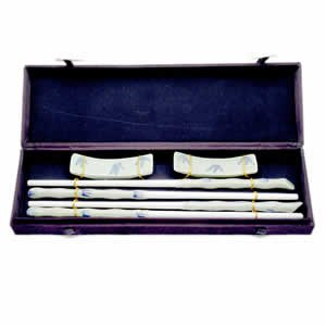 Porcelain Chopsticks - Green Bamboo Pattern - 2 Pair