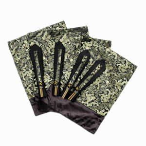 Silk Table Linen Set OF 4 - Black Dragon