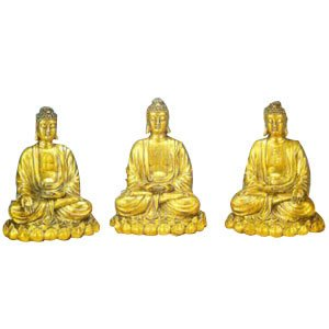 Set of 3 Buddhas - Brass - 10 inch