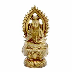 Kwan Yin Figurine - Brass - 3 Inch