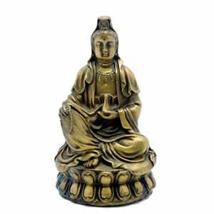 Kwan Yin Figurine - Brass - 4 Inch