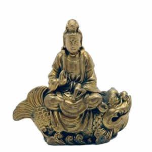 Kwan Yin on Fish - Brass - 2.5 inch