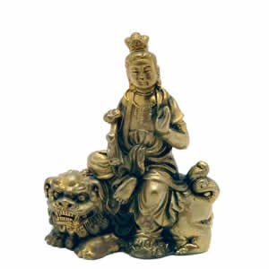 Kwan Yin on Fu Dog - Brass - 2.5 inch