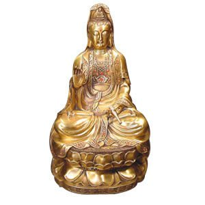 Sitting Kwan Yin Sculpture - Brass - 20 inch