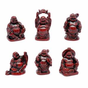 Buddha Set - Red Resin - 2 inch
