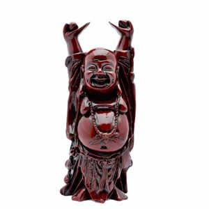 Happy Hotei Buddha - Red Resin - 10 inch