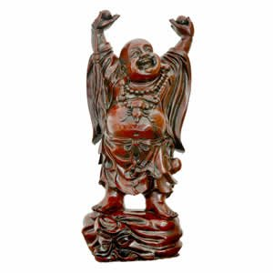Red Dancing Prosperity Buddha - Red Resin - 22 inches