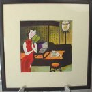 Framed Print - Watercolor - Lady/Cat