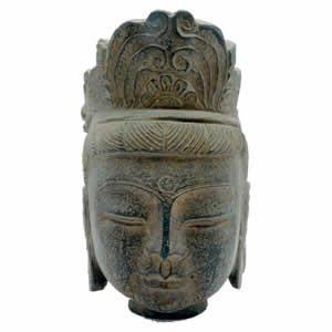 Stone Kwan Yin Head - 9 inch