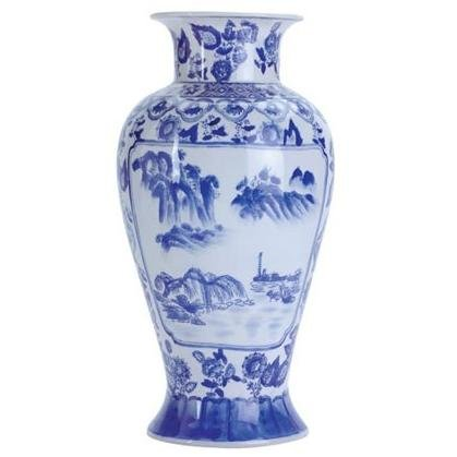 Chinese Blue and White Willow Vase - 12 inch
