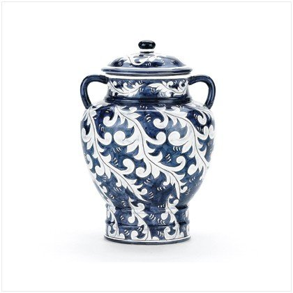 Blue Asian-Inspired Urn - 11.6 inch
