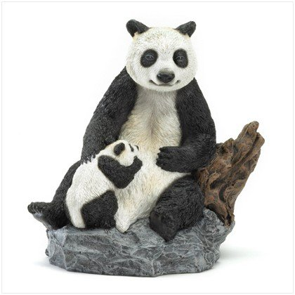 Mother and Baby Panda Figurine