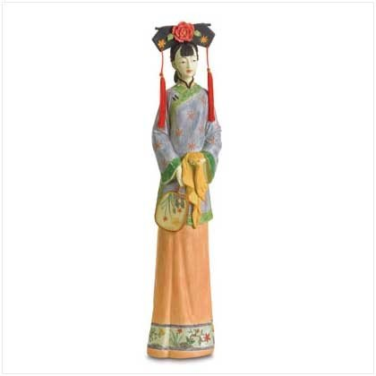 Qing Dynasty Girl with Fan Figure - 21 inch