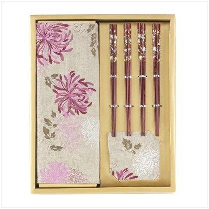 Asian Table Top Set - Plum Chrysanthemum and Bamboo
