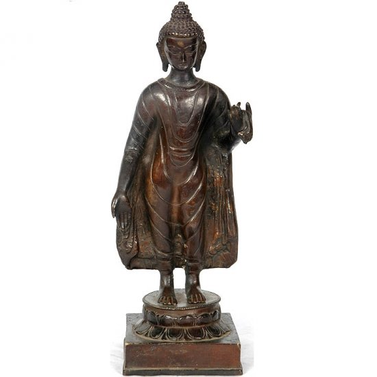 Standing Buddha Sculpture - Copper