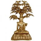 Nirvana Buddha Under the Tree of Life - Brass Sculpture