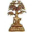 Nirvana Buddha Under the Tree of Life - Brass Sculpture
