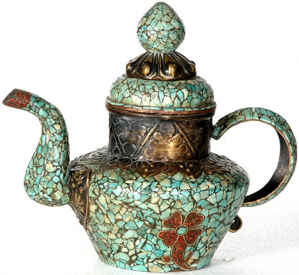Nepalese Ritual Kettle - Copper, Turquoise, and Coral