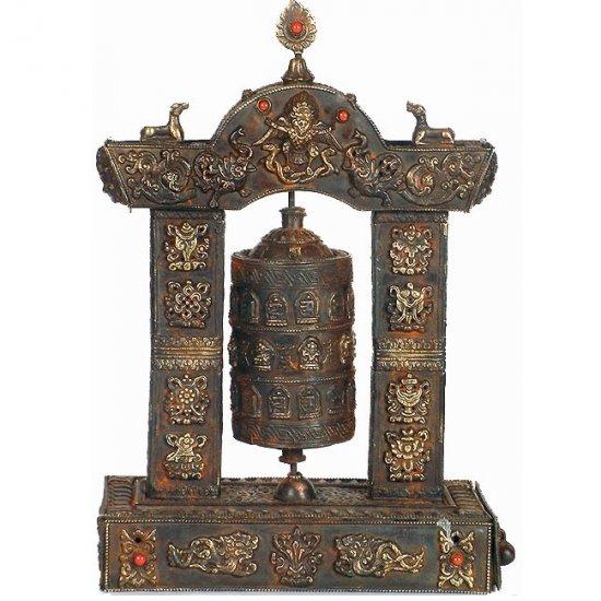 Antiquated Enshrined Prayer Wheel with Eight Auspicious Symbols and Gemstones
