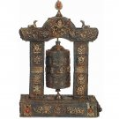 Antiquated Enshrined Prayer Wheel with Eight Auspicious Symbols and Gemstones