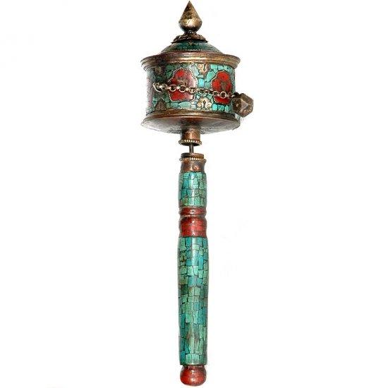 Antiquated Prayer Wheel with Gemstones