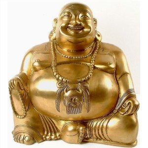 Laughing Buddha - Brass Sculpture