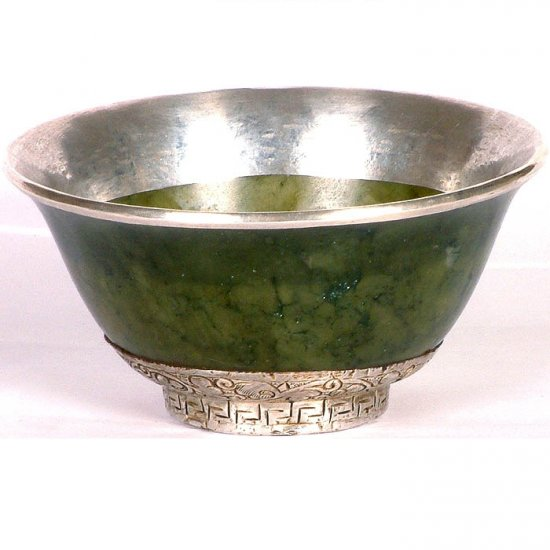 Jade Ritual Bowl Engraved Flower Motifs