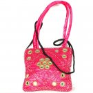 Hot-Pink Beaded Handbag with Mirrors