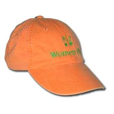 Women Fly Hat: Tangerine Hat/Emerald Embroidery