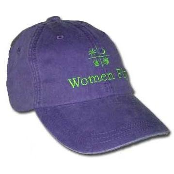 Women Fly Hat: Plum Hat/Lime Embroidery