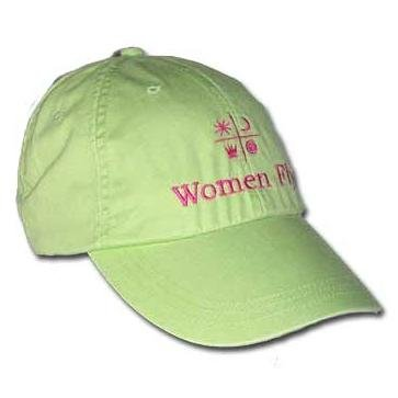 Women Fly Hat: Lime Hat/Magenta Embroidery