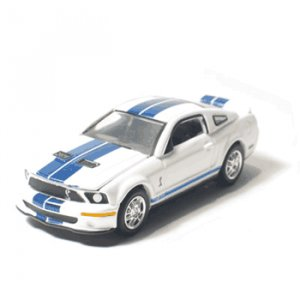 2007 Shelby GT 500 White w/Blue Stripes 1/64 Mustang Muscle Car Garage Series By GreenLight