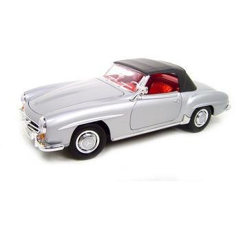 Welly 1955 Mercedes Benz 190SL Silver Soft Top 1:18 Diecast Model