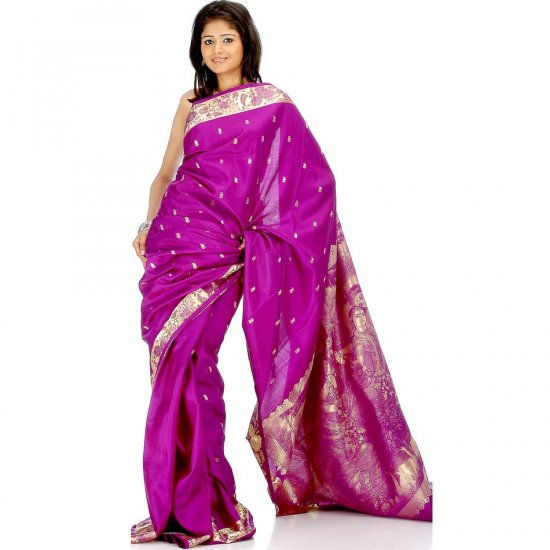 Purple Bangalore Silk Sari with Radha Krishna on Pallu and Floral Border