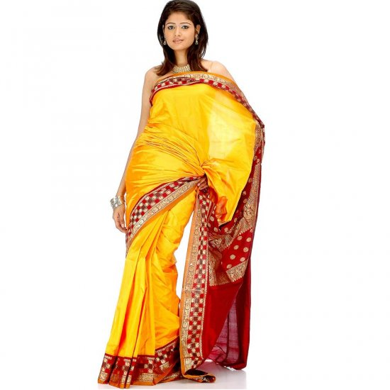 Amber Kanjivaram Sari with Peacocks and Paisleys on Border