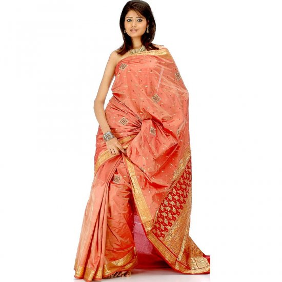 Dark Salmon Sari from Bangalore with Embroidery and Crystals