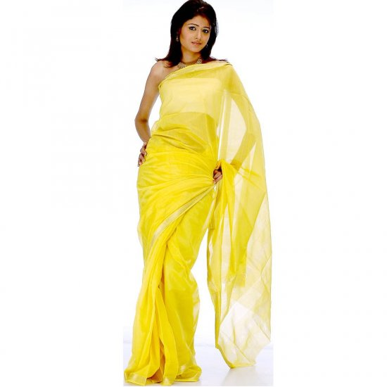 Yellow Maheshwari Sari with Golden Thread Weave on Border