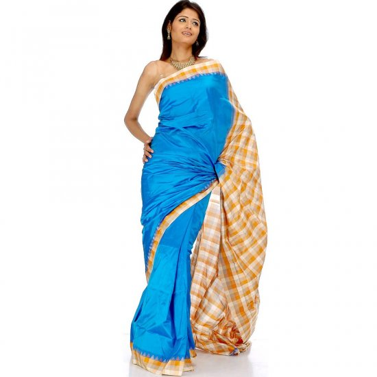 Azure Blue Handwoven Bangalore Silk Sari with Checks and Temple Border
