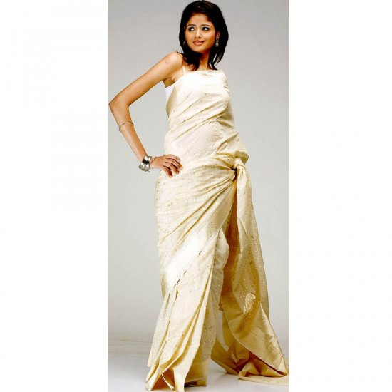 Ivory Banarasi Wedding Sari with All-Over Golden Bootis and Border
