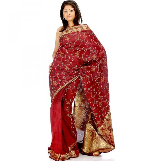 Dark Maroon Bangalore Silk Sari with All-Over Floral Embroidery