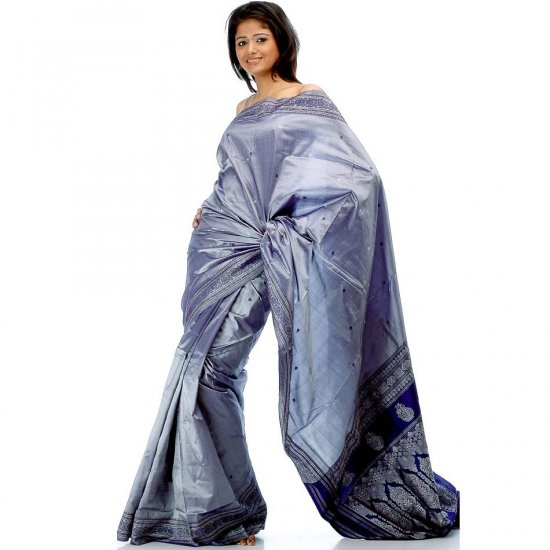 Slate-Gray and Blue Hand-Woven Sari from Karnataka