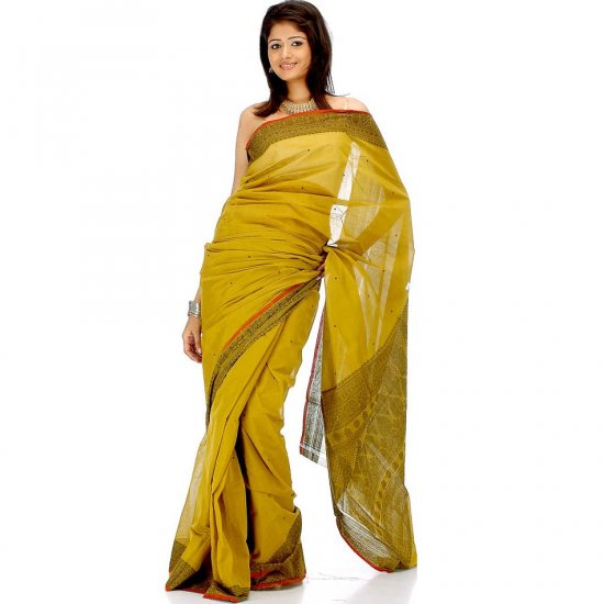 Dark-Goldenrod Sari from Calcutta with Weave on Border and Pallu