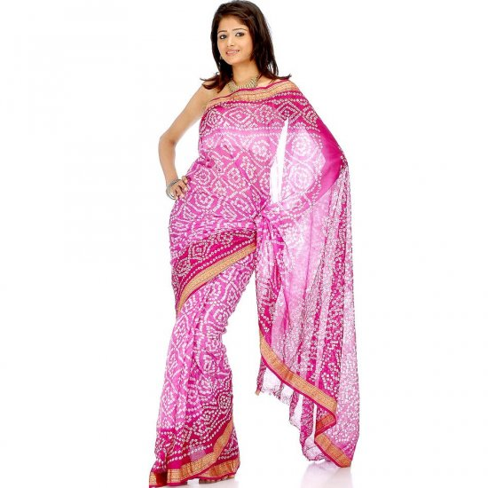 Pink and Violet Bandhani Sari with Golden Weave on Border