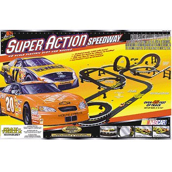 NASCAR Super Action Speedway Electric Slot Car Racing Set Life Like Products -433-9695