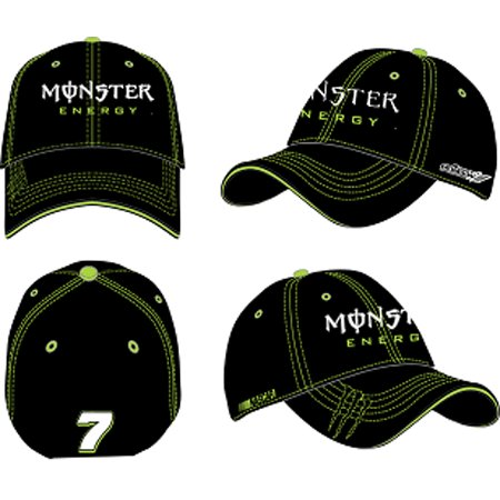 #7 Robby Gordon Black Monster Energy Flex Fit Hat Checkered Flag Sports