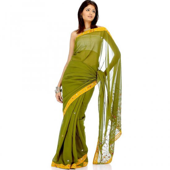 Green and Amber Sari with Beads and Threadwork